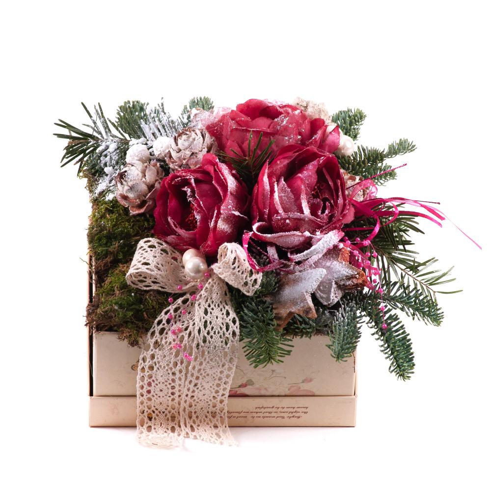 d3b0429cd Irigo flower box vintage štvorec M bordové ruže | KVETY.sk